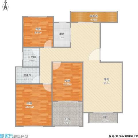 高尔夫花园3室1厅2卫1厨132.00㎡户型图