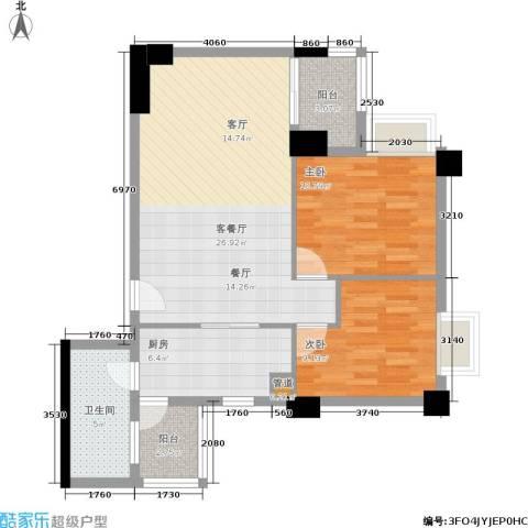 橡树园2室1厅1卫1厨74.00㎡户型图