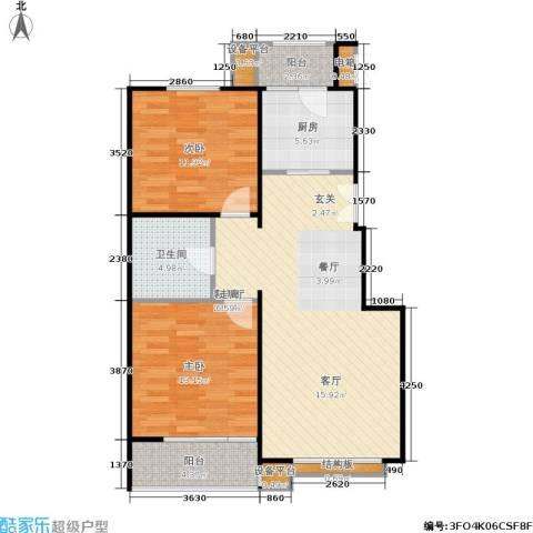 名爵·滨河花园2室1厅1卫1厨96.00㎡户型图