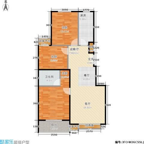 名爵·滨河花园3室1厅1卫1厨105.00㎡户型图