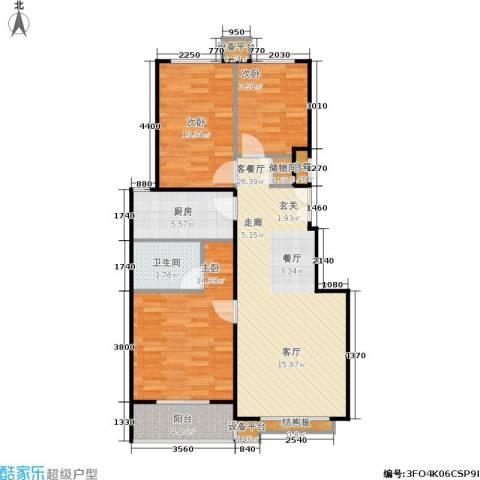 名爵·滨河花园3室1厅1卫1厨102.00㎡户型图