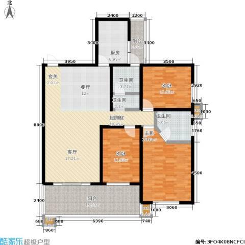 白沙湾嘉园3室0厅2卫1厨117.78㎡户型图