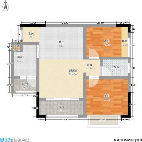 都市兰亭2室0厅1卫1厨64.00㎡户型图