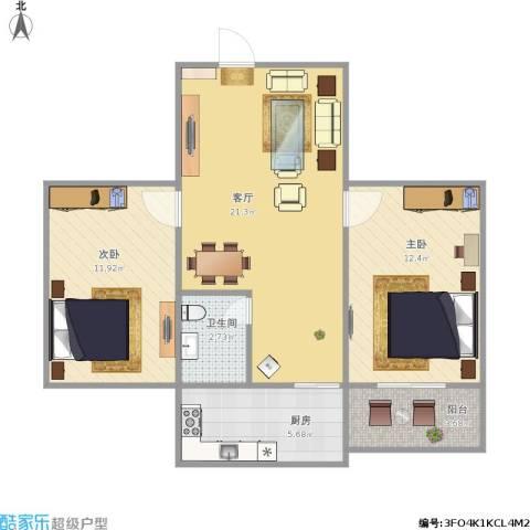 合作小区2室1厅1卫1厨62.27㎡户型图