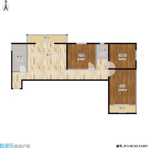 芍药居北里3室1厅1卫1厨101.00㎡户型图