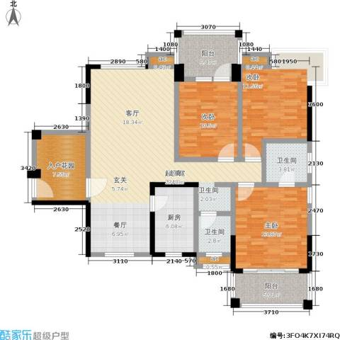 尚东紫郡3室0厅2卫1厨124.00㎡户型图