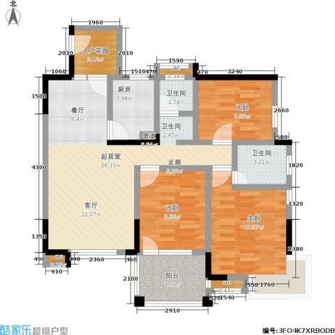 尚东紫郡3室0厅2卫1厨85.00㎡户型图