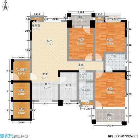 尚东紫郡3室0厅2卫1厨124.88㎡户型图