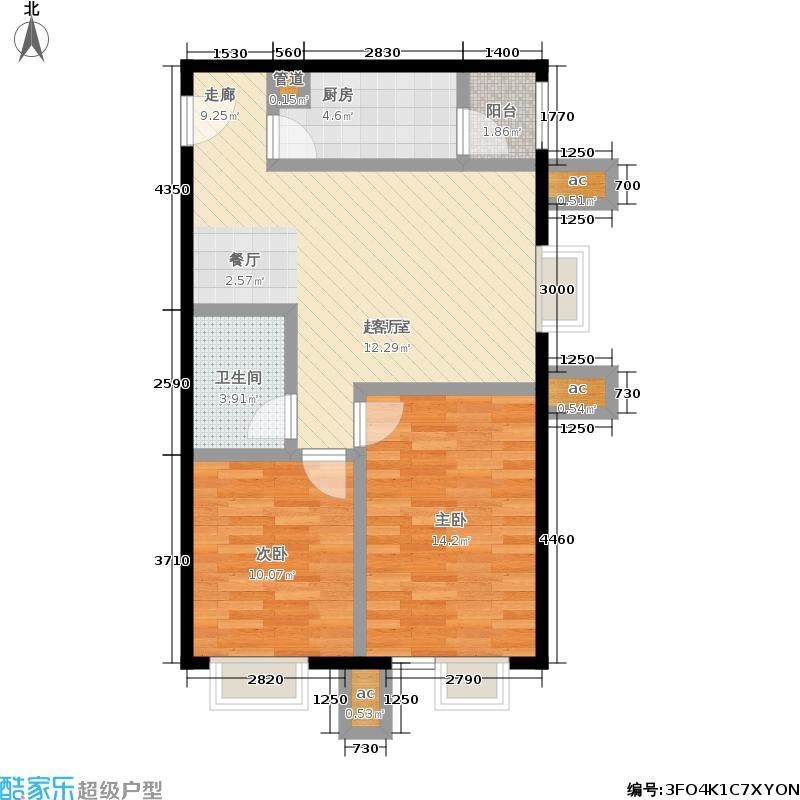 北京北87.97㎡7号楼B52面积8797m户型