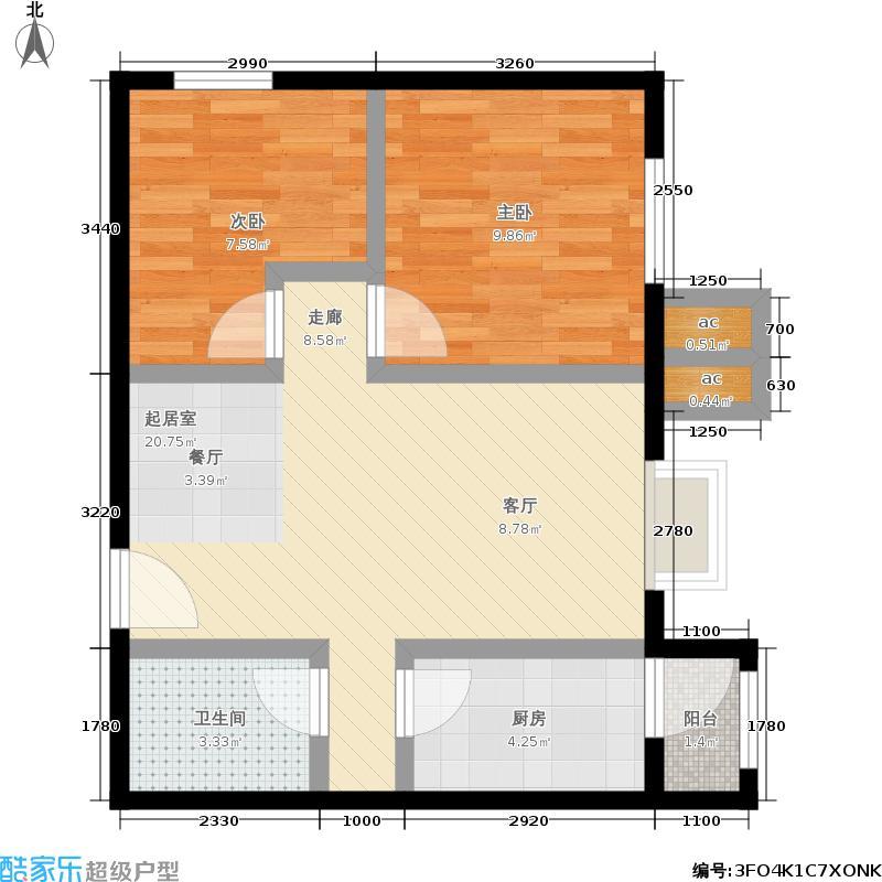 北京北72.90㎡7号楼B42面积7290m户型