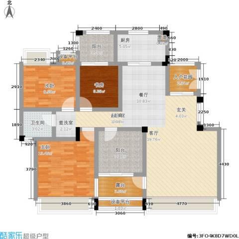 金地三千府3室0厅1卫1厨116.00㎡户型图
