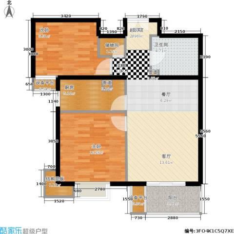 东恒时代一期2室0厅1卫1厨88.00㎡户型图