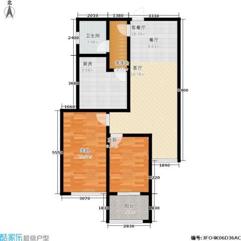 北京自在城2室1厅1卫1厨86.00㎡户型图