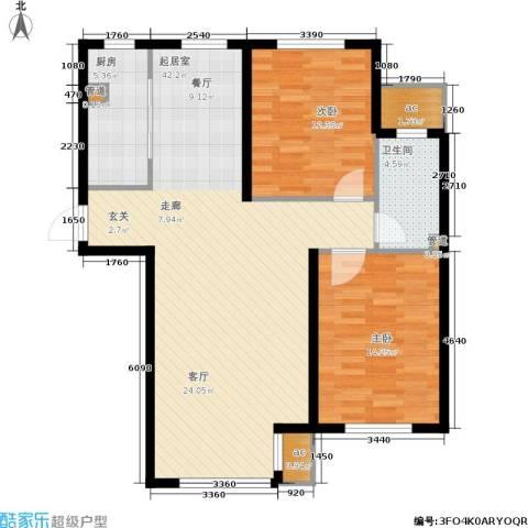 中房上东花墅二期2室0厅1卫1厨92.00㎡户型图