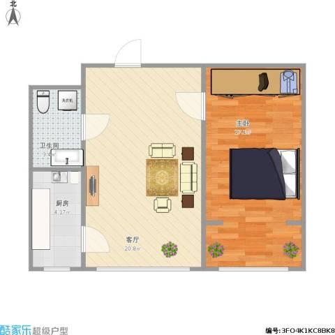 盛世华庭1室1厅1卫1厨61.00㎡户型图