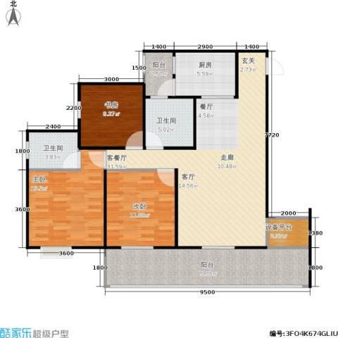 龙乡苑铜新花园3室1厅2卫1厨106.00㎡户型图