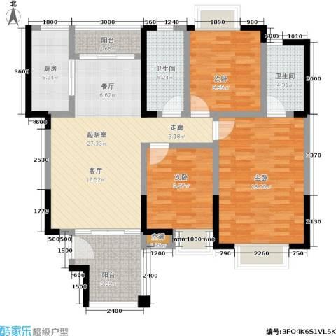 水岸名都2期3室0厅2卫1厨131.00㎡户型图