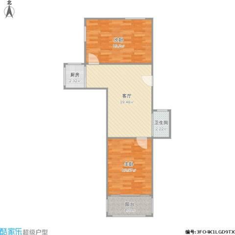 莫愁新寓2室1厅1卫1厨76.00㎡户型图
