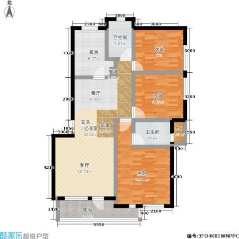 长城・都市阳光二期3室0厅2卫1厨124.00㎡户型图