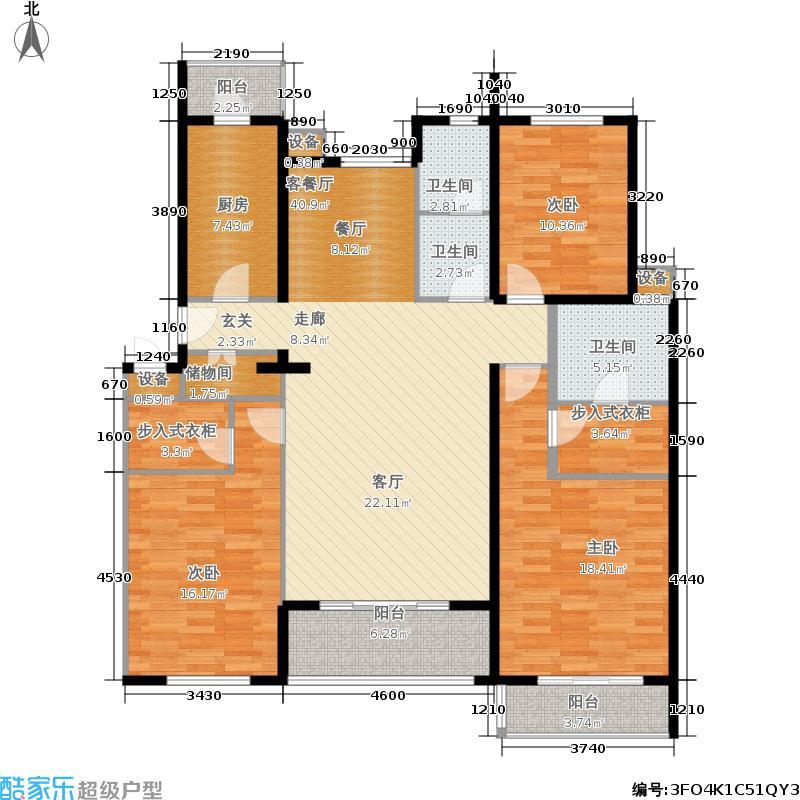 BDA样本144.31㎡三期C'单元四层面积14431m户型