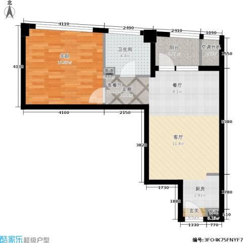万马滨河城19191室1厅1卫0厨57.00㎡户型图