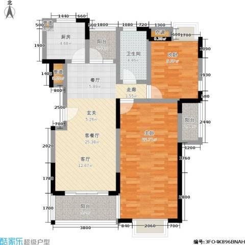 水岸名都2期2室1厅1卫1厨89.00㎡户型图