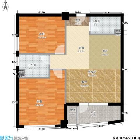 万马滨河城19192室1厅2卫0厨85.00㎡户型图