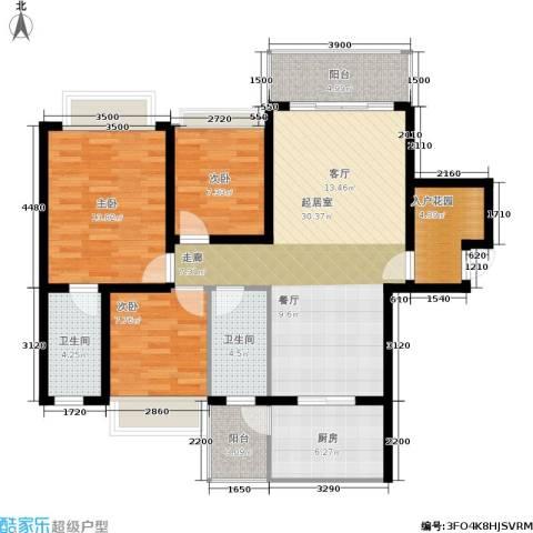 兴业花园3室0厅2卫1厨124.00㎡户型图