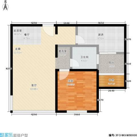 申地公寓二期1室0厅1卫1厨81.00㎡户型图