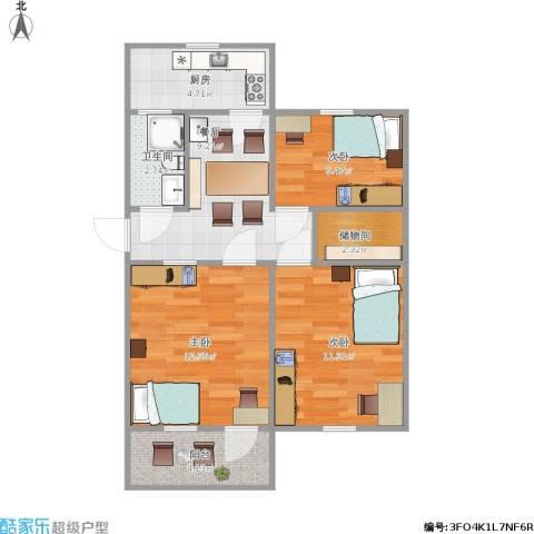 六里山南路宿舍3室1厅1卫1厨73.00㎡户型图