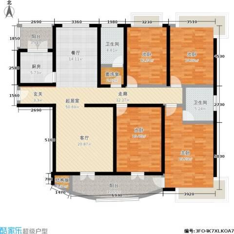 三角花园・星城4室0厅2卫1厨170.00㎡户型图