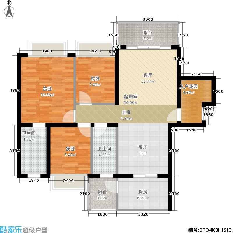 兴业花园二幢A座03户型3室2厅2卫
