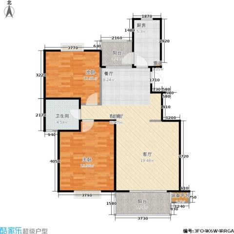 书香银苑2室1厅1卫1厨87.00㎡户型图