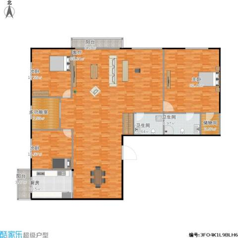 恒运大厦3室1厅2卫1厨214.98㎡户型图