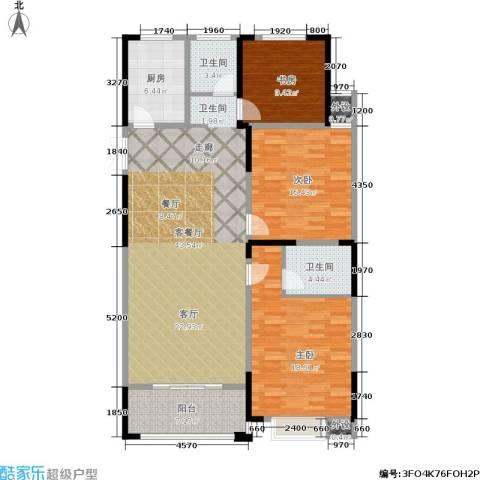 大树玫瑰恬园3室1厅2卫1厨120.00㎡户型图
