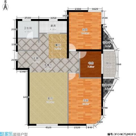 君豪绿园3室1厅1卫1厨117.00㎡户型图