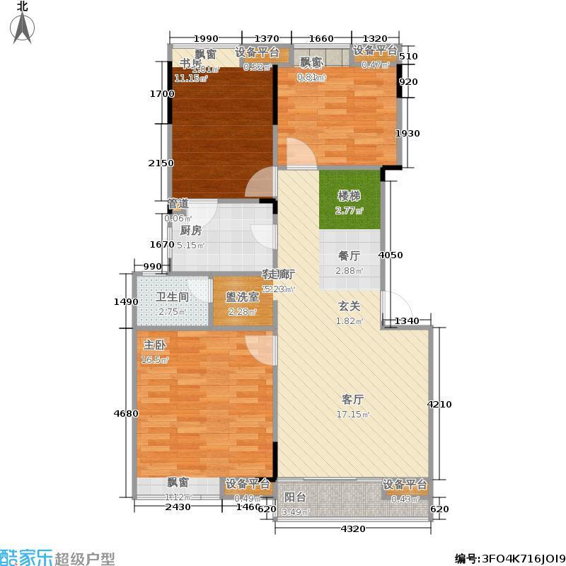 万科白马花园90.00㎡房型: 三房; 面积段: 90 -100 平方米; 户型