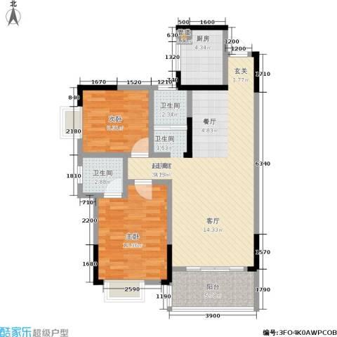 凯富漫城2室0厅2卫1厨90.00㎡户型图