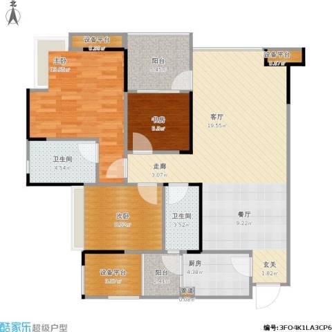 元合悠哉悠宅3室1厅2卫1厨119.00㎡户型图