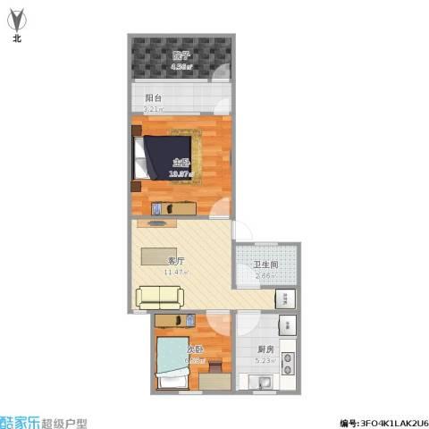 采荷金谷2室1厅1卫1厨61.00㎡户型图
