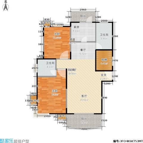 北桥春天2室1厅2卫1厨100.00㎡户型图