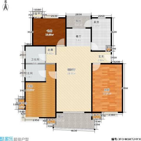 北桥春天3室1厅2卫1厨120.00㎡户型图