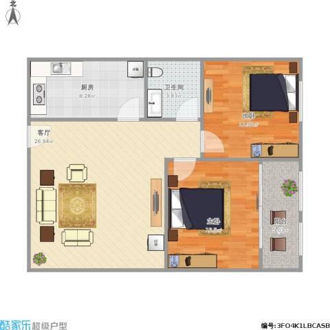 阳光舜城2室1厅1卫1厨73.33㎡户型图