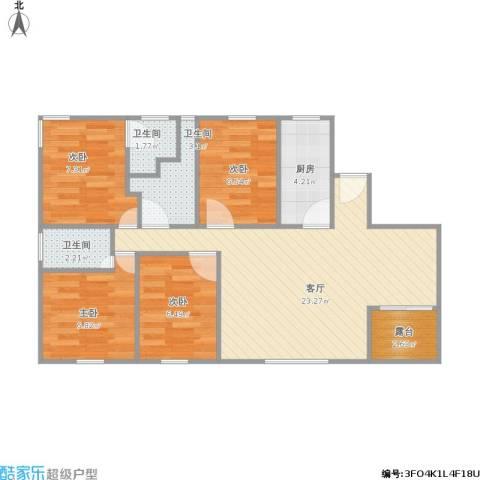 新浦江城4室1厅3卫1厨89.00㎡户型图