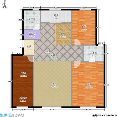 君豪绿园3室1厅2卫1厨127.00㎡户型图