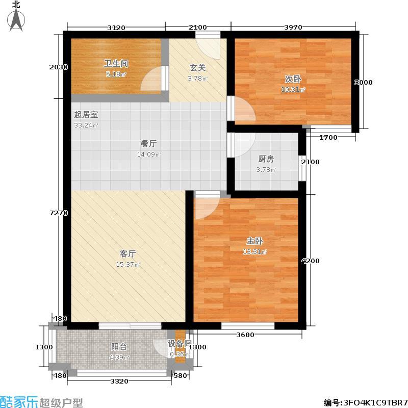 天伦锦城98.70㎡18号楼1单元04户面积9870m户型