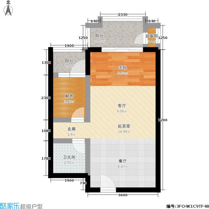 天伦锦城48.68㎡18号楼1单元01号面积4868m户型