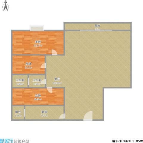 锦绣江南三期3室1厅2卫1厨131.00㎡户型图