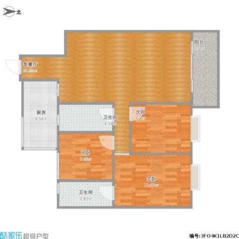 清华苑3室1厅2卫1厨106.00㎡户型图