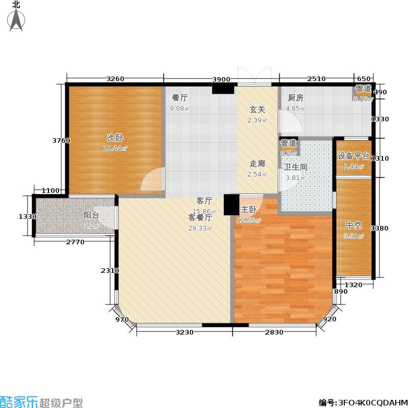 玉兰公寓89.00㎡2#楼3-16层H型面积8900m户型